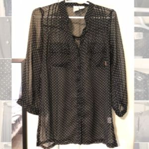 Pretty, Sheer Billabong Button-Up 3/4 Sleeve Top